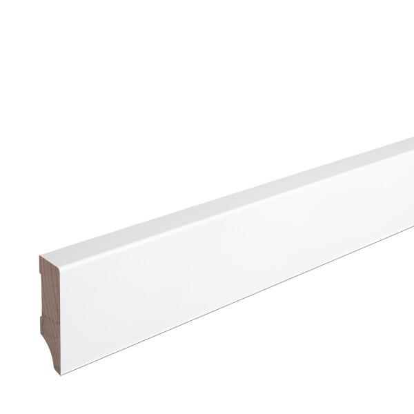 Sockelleiste Massiv Holz Buche weiß lackiert Weimarer Profil Modern 60mm