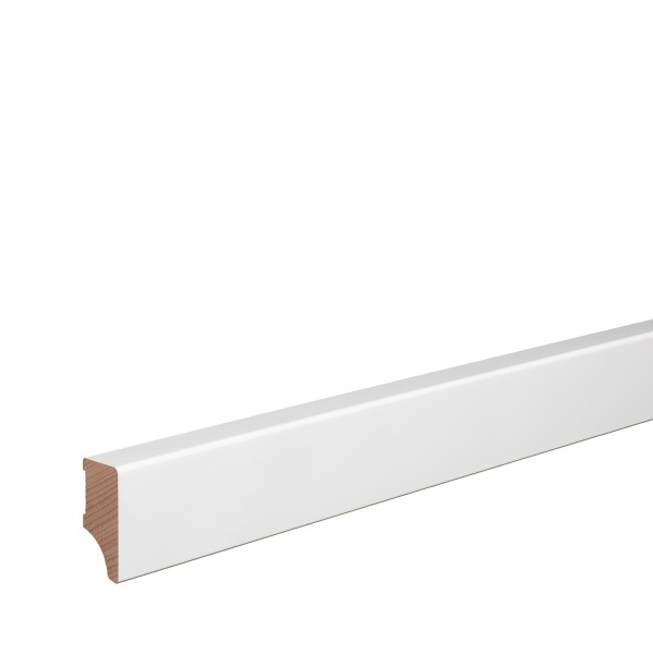 Sockelleiste Massiv Holz Buche weiß lackiert Weimarer Profil Modern 40mm