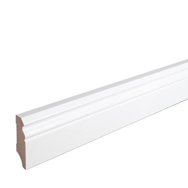 Sockelleiste Massiv Holz Buche weiß lackiert Hamburger Berliner Profil 60mm
