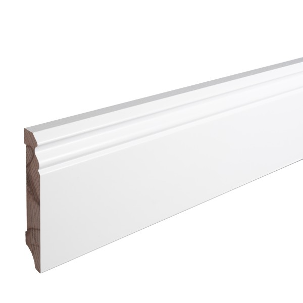 Sockelleiste Massiv Holz Buche weiß lackiert Hamburger Berliner Profil 100mm