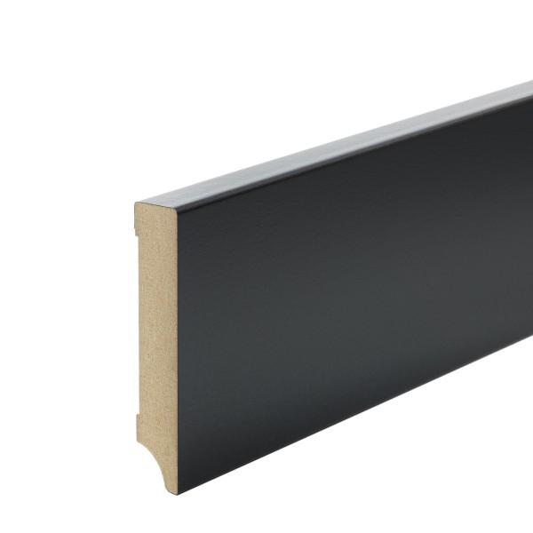 Sockelleiste MDF schwarz foliert Weimarer Profil Modern 100mm
