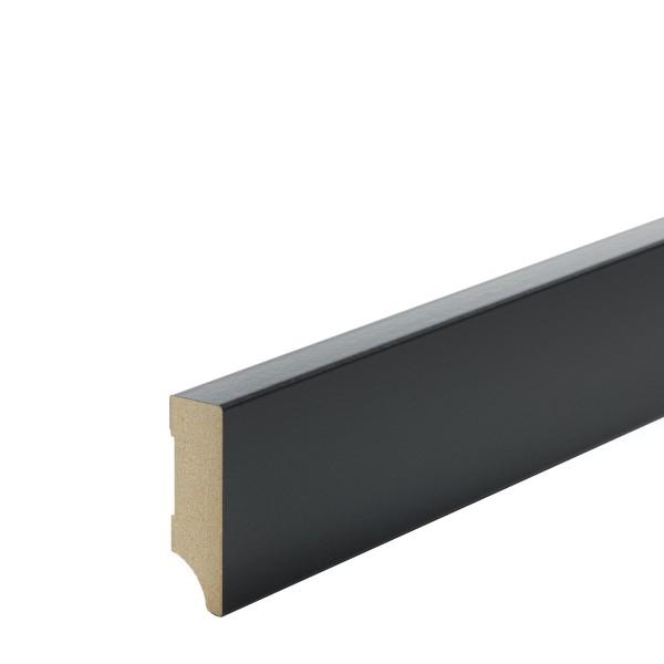 Sockelleiste MDF schwarz foliert Weimarer Profil Modern 60mm