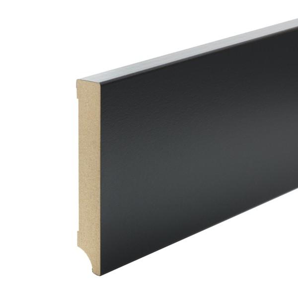 Sockelleiste MDF schwarz foliert Weimarer Profil Modern 120mm