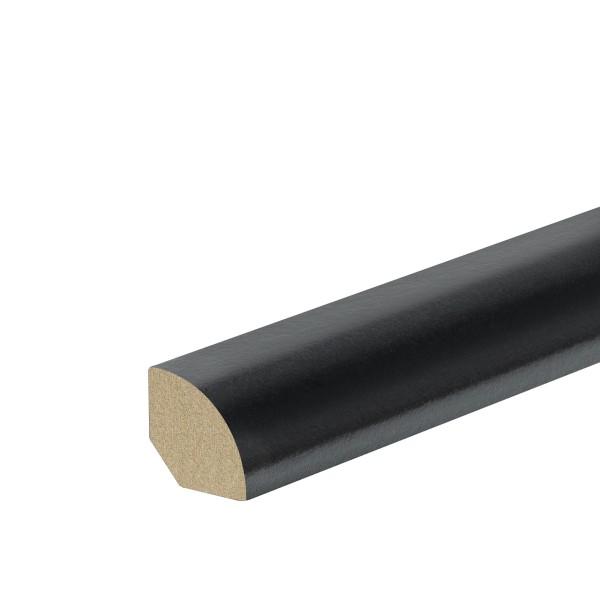 Viertelstab Abdeckleiste Abschlussleiste Sockelleiste MDF SCHWARZ Folie 14mm